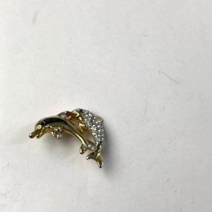 100% Vintage Designer Brosche Couture gold Delphine Paar