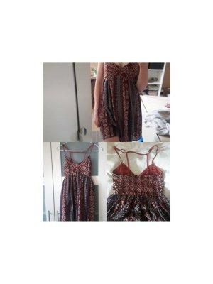 100% Viskose Rotes kurzes Hollister Kleid mit Raffung und Träger