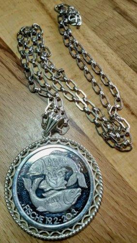 1000er Feinsilber Medaille, Sternzeichen Fisch an 835 Silber Kette