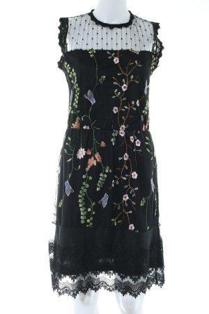 101 Idees A-lijn jurk zwart bloemenprint elegant