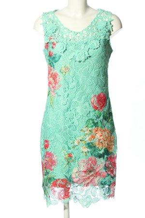 101 Idees Robe fourreau turquoise-rouge motif de fleur élégant