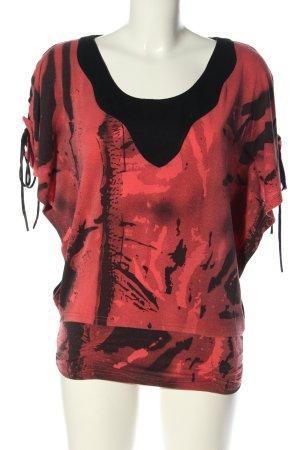 101 Idees Camicia fantasia nero-rosso motivo astratto stile casual