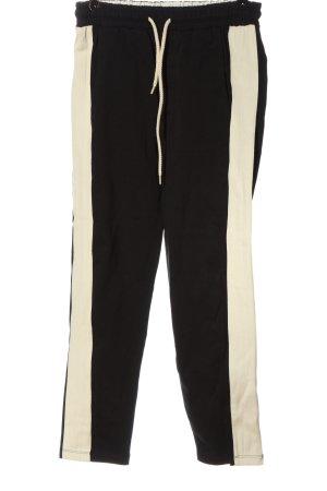 10Days Pantalone jersey nero-bianco sporco motivo a righe stile casual