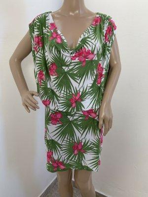 1195€ Celine Wasserfallkleid Wasserfall Cocktailkleid Strandkleid Kleid Viskose Sommer Tunika Blumenprint Tropical Print 36 38 S M