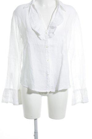 120% Lino Leinenbluse weiß Elegant