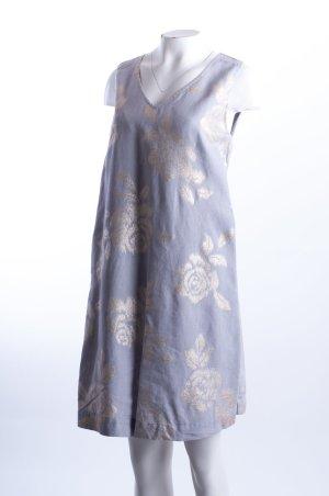 120% LINO - Leinenkleid mit Rosenprint Grau-Gold