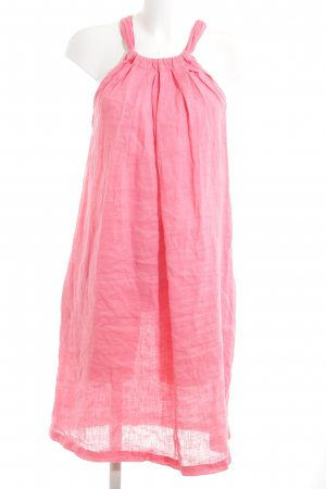 120% Lino Robe épaules nues rose style décontracté
