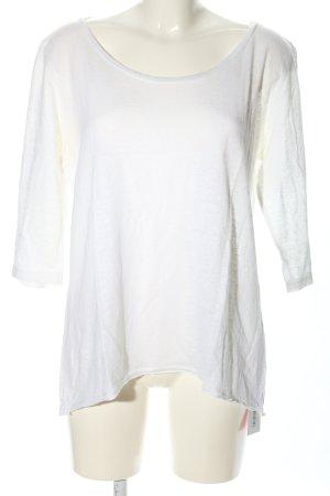 120% Lino Koszulka z dzianiny biały W stylu casual