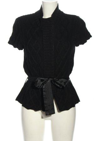 123 Paris Kardigan czarny Warkoczowy wzór Elegancki