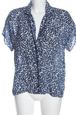 123 Paris Koszulowa bluzka niebieski-biały Wzór w kwiaty W stylu casual