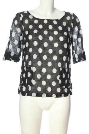 123 Paris Bluzka z krótkim rękawem czarny-w kolorze białej wełny Melanżowy