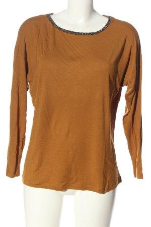 123 Paris Koszulka z długim rękawem brązowy W stylu casual