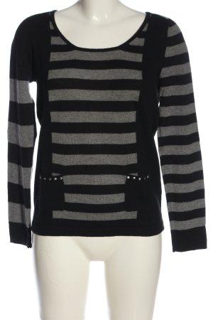 123 Paris Sweter z okrągłym dekoltem czarny-jasnoszary Melanżowy