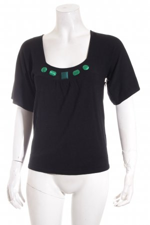 123 Paris Camisa tejida negro look casual