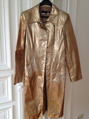 Cavalli Leather Coat gold-colored-bronze-colored leather
