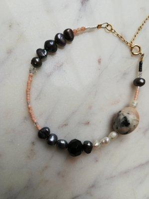 14K goldfilled Armband mit Süßwasser Perlen Swarovski Perlen Dalmatiner Jaspis Erdbeerquarz