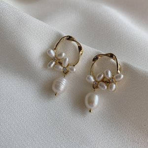 14K Vergoldete Ohrringe mit Süßwasserperle