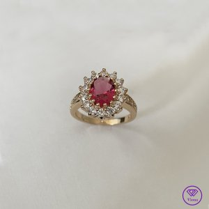 Viona Statement Ring gold-colored-red