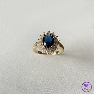 ♈️ 14K Vergoldeter Saphirfarbener Ring - Gestempelt