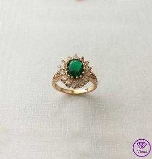 Viona Zdobiony pierścionek złoto-zielony