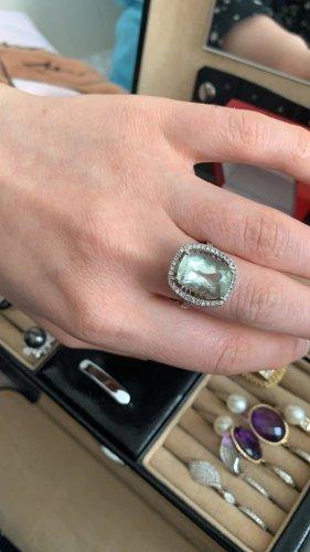 14kt. 585 gold ring brillianten mit Amethyst
