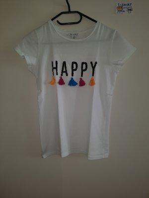 158 XS T Shirt weiß mit happy gelb rosa blau Primark