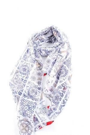 17&co Neckerchief blue-white abstract pattern casual look