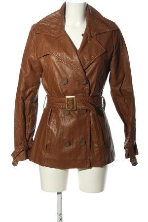 17&co Veste en cuir synthétique brun élégant
