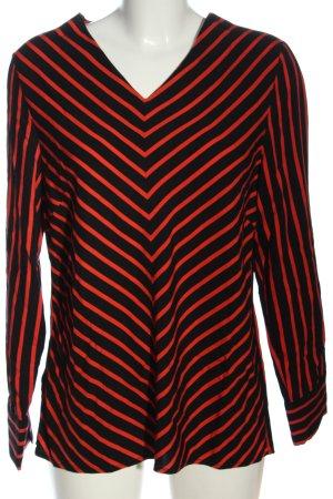 17&co Blouse à manches longues noir-rouge motif rayé style décontracté