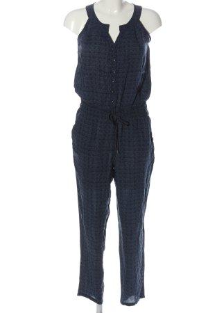 17&co Langer Jumpsuit schwarz-blau Allover-Druck Casual-Look