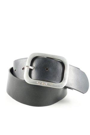 17&co Skórzany pasek czarny-srebrny W stylu biznesowym