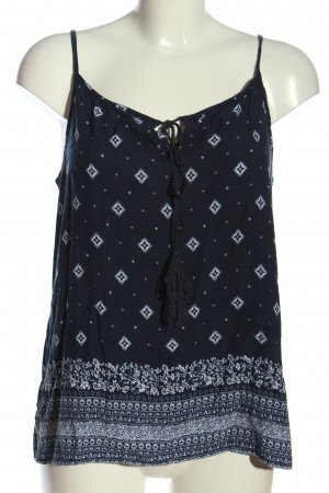 17&co Spaghettibandtopje blauw-wit volledige print casual uitstraling