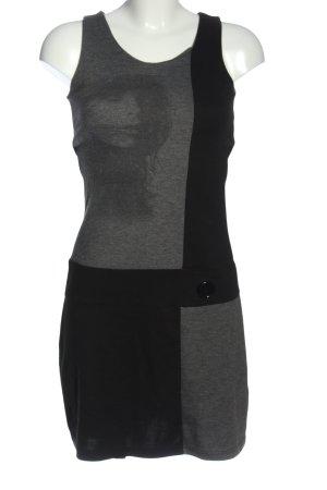 17&co Gebreide jurk lichtgrijs-zwart gestippeld casual uitstraling