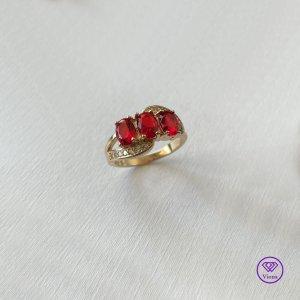 ♈️ 18 K Gold-gefüllt 925 Sterlingsilber - Rubinrot - Gestempelt