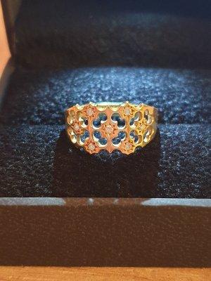 18 kt Gelbgoldring - 0,10 ct Diamanten - AIG Zertifikat