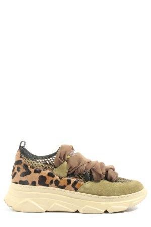 181 Sneakersy wciągane brązowy-czarny Zwierzęcy wzór W stylu casual