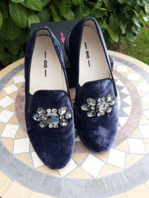 181 Sneaker slip-on blu scuro-argento