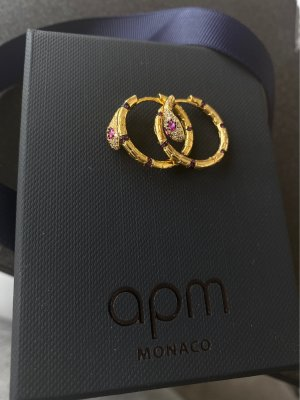 apm Monaco Ear Hoops gold-colored-raspberry-red