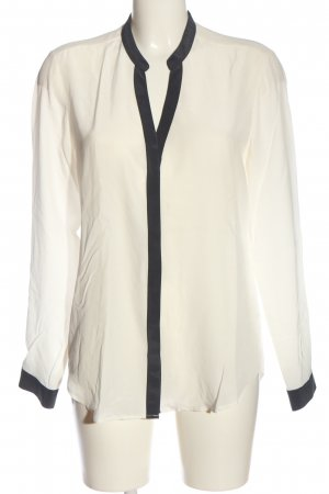 1863 by Eterna Chemise à manches longues blanc-noir style décontracté