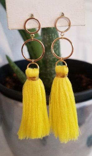 18k Gold Boho-Ohrringe mit gelber Quaste (Handgemacht)