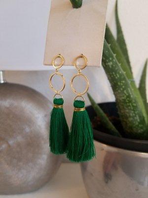 18k Gold Boho-Ohrringe mit grüner Quaste (Handgemacht)
