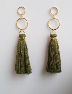 18k Gold Boho-Ohrringe mit khaki-farbender Quaste (Handgemacht)