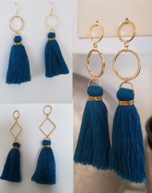 18k Gold Boho-Ohrringe mit petrol-farbender Quaste (Handgemacht)