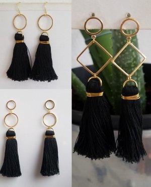 18k Gold Boho-Ohrringe mit schwarzer Quaste (Handgemacht)