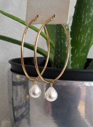 18k Gold Creole mit weißer Perle (Goldfarben)
