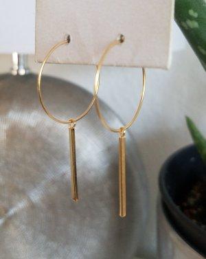 18k Gold Filigrane Creolen mit Stäbchen-Anhänger (Handgemacht)