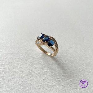 Viona Srebrny pierścionek złoto-niebieski