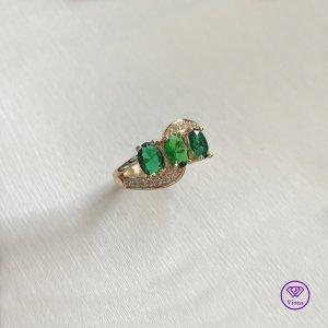 Viona Srebrny pierścionek złoto-zielony