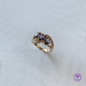 Silver Ring gold-colored-lilac