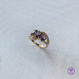 Viona Srebrny pierścionek złoto-jasny fiolet